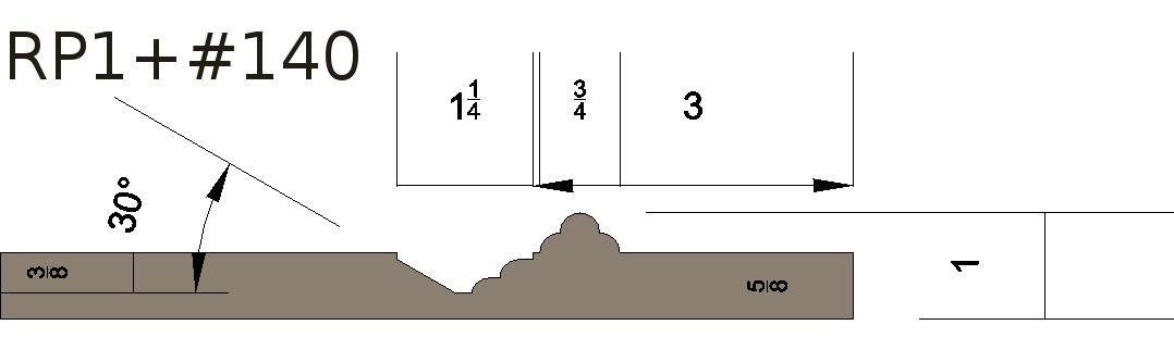 Raised panel 1+140 wainscoting profile