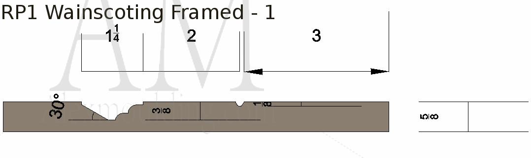 Raised panel 1 framed 1 wainscoting profile