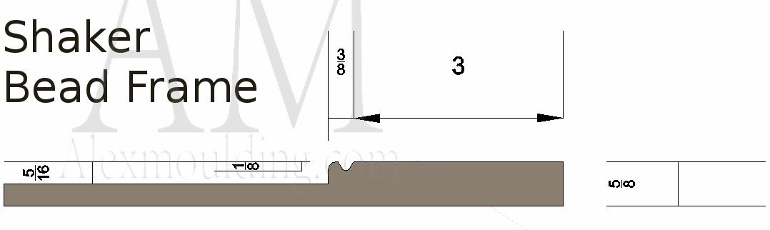 Shaker bead frame wainscoting profile