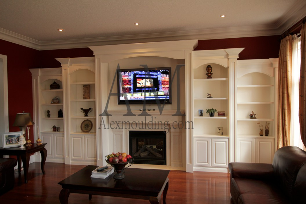 Build in wall tv entertainment units custom bookcases How to build an entertainment wall unit