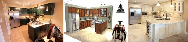3D computer generated image of kitchen cabinets wall units