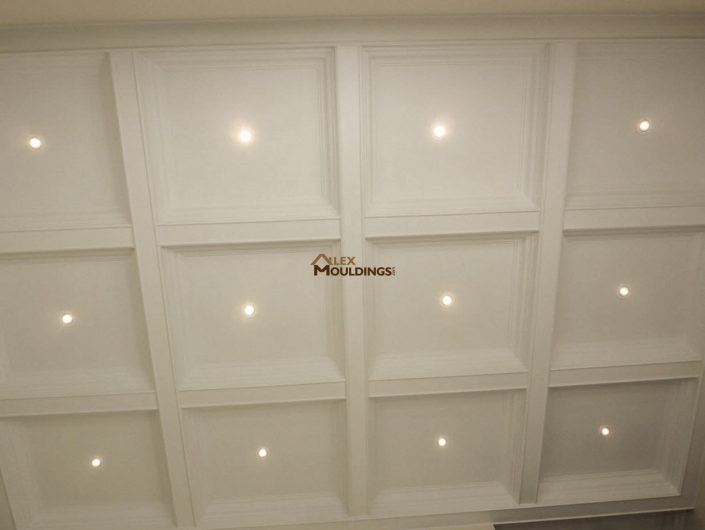 Waffle ceiling design with lighting
