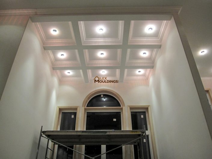 Hallway Waffle Ceiling with pot lights