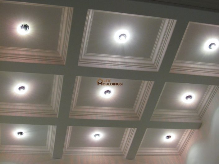 Beautiful Waffle Ceiling with Crown mouldings
