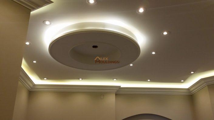 Round ceiling design with surround lighting