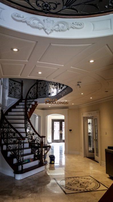 Hallway ceiling wainscoting idea