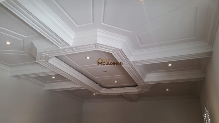 Coffered Ceiling with wainscoting panels