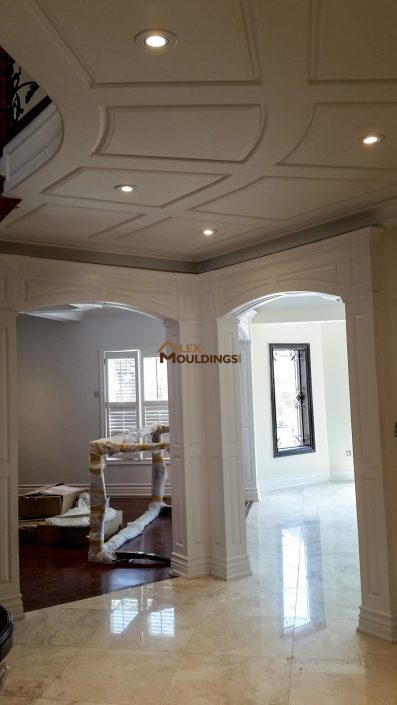 Raised panel wainscoting on ceiling