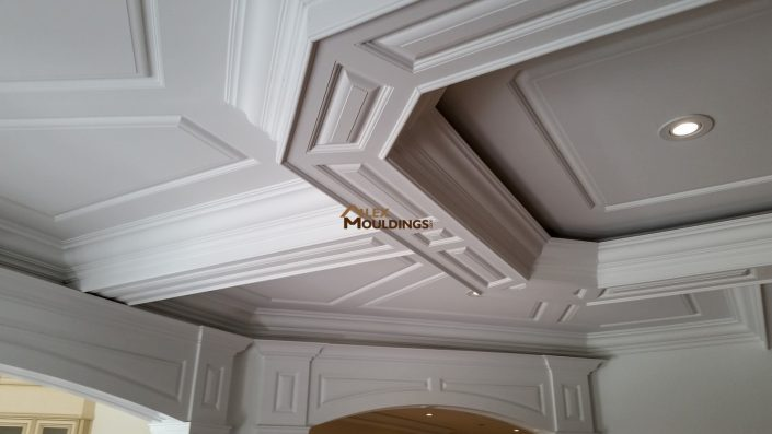 Coffered ceiling with raised panel sides