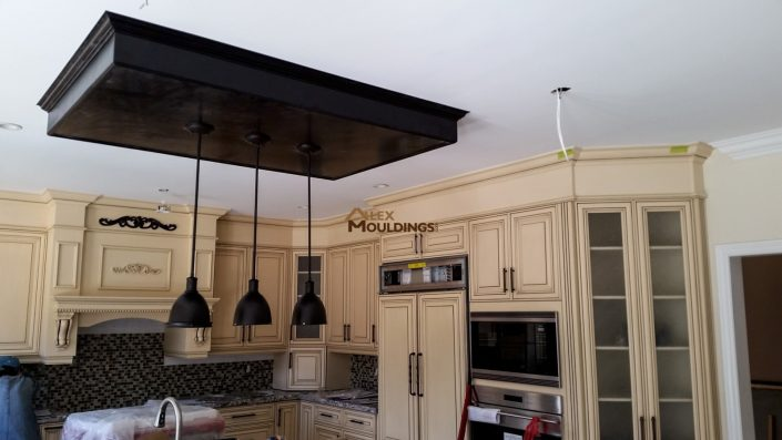 Kitchen Ceiling Dark wood box with pendant lights