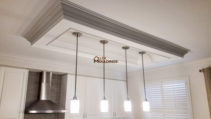 Rectangle ceiling box above island