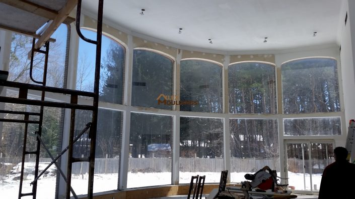 panoramic window dressed up with crown moulding
