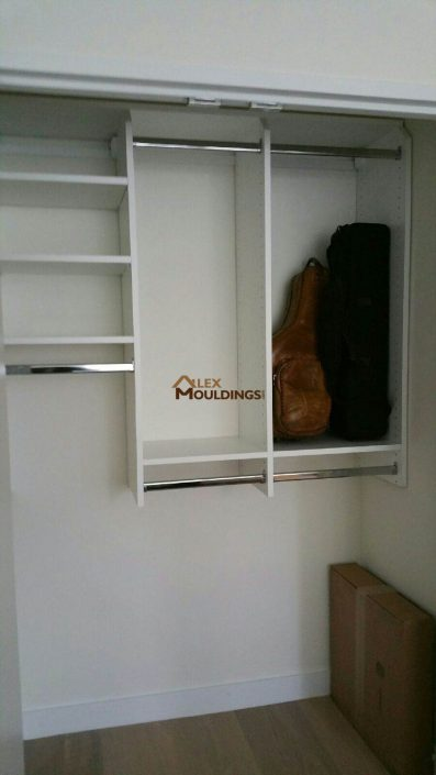 closet shelving in white