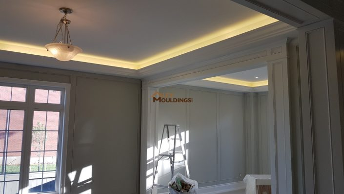 dropped crown moulding with leds