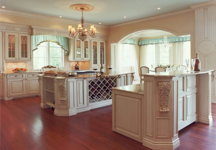 beautiful kitchen island with wine rach