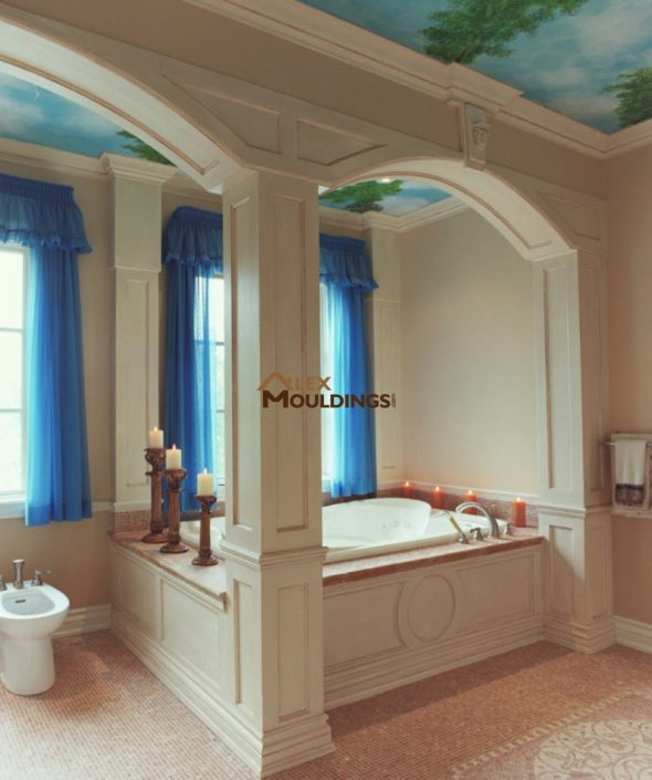 spa barroom wall paneling and arches