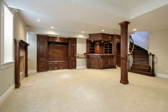 custom wood millwork in the basement