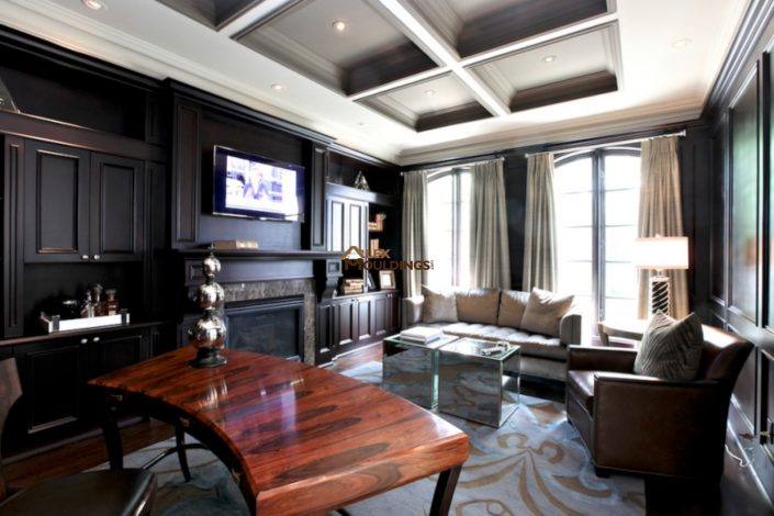 living room custom coffered ceiling