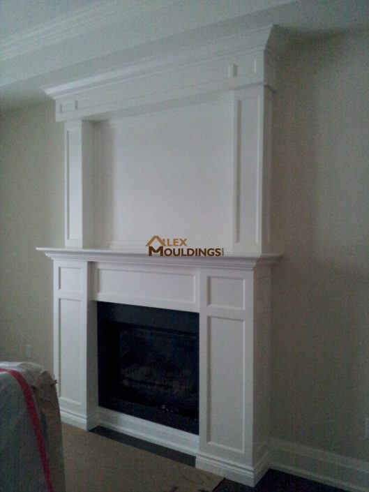 while fireplace mantel