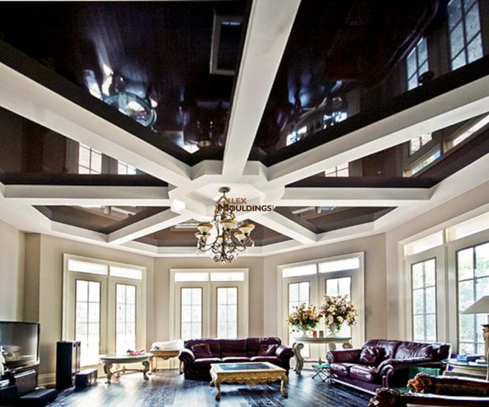 Black stretch ceiling with circle and beams pattern