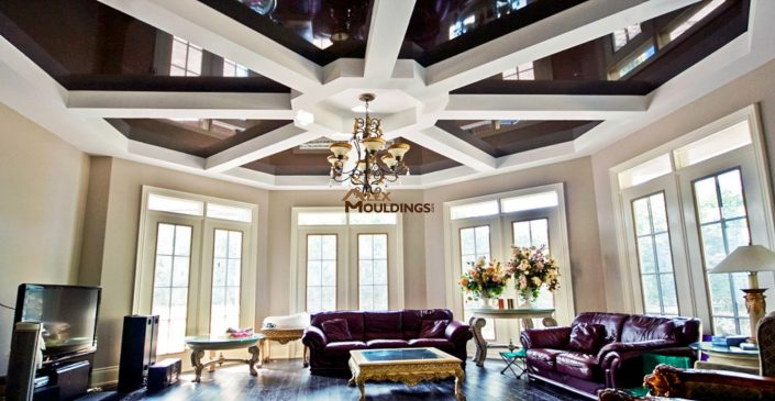 Designed beams built on a stretch ceiling