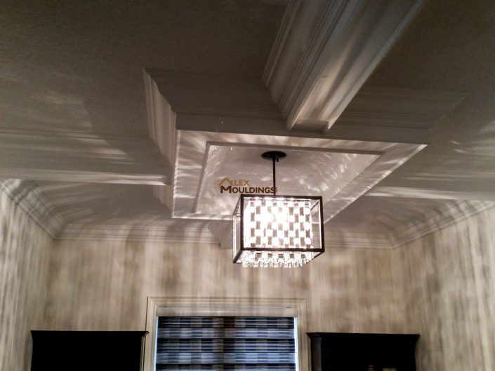 Coffered ceiling box with pendant light