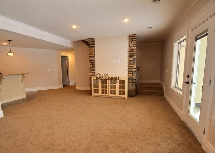 basement with brick wall