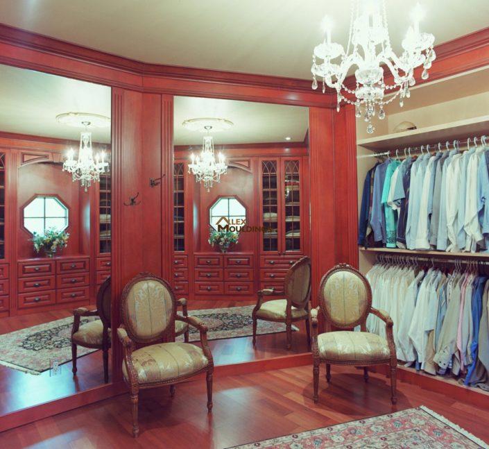 Walk in mahogany closet