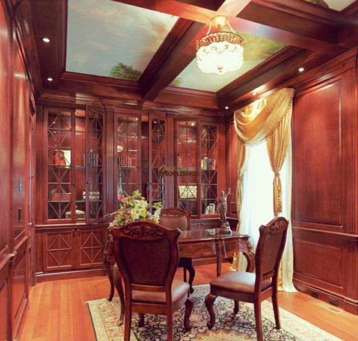 mahogany built ins and ceiling beams