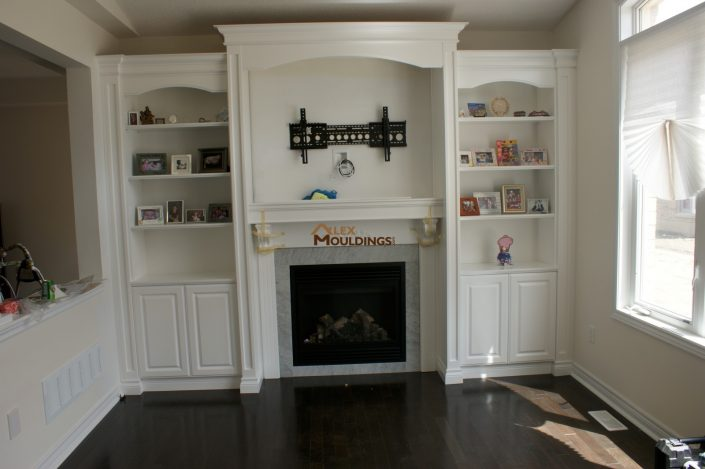 wall unit with mantel and crowns