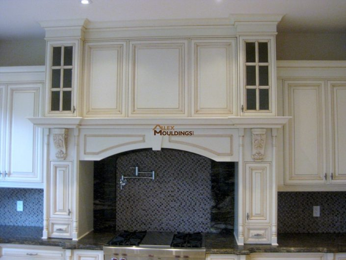 built in kitchen hood with fake cabinets on top