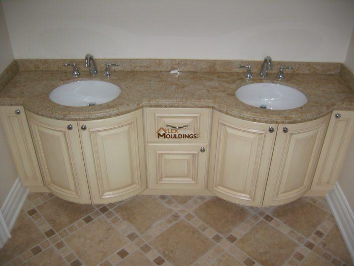 curved custom bath vanity