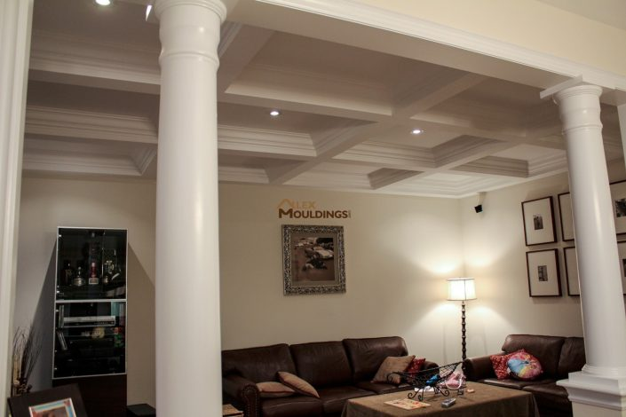 Waffle Ceiling living room and columns