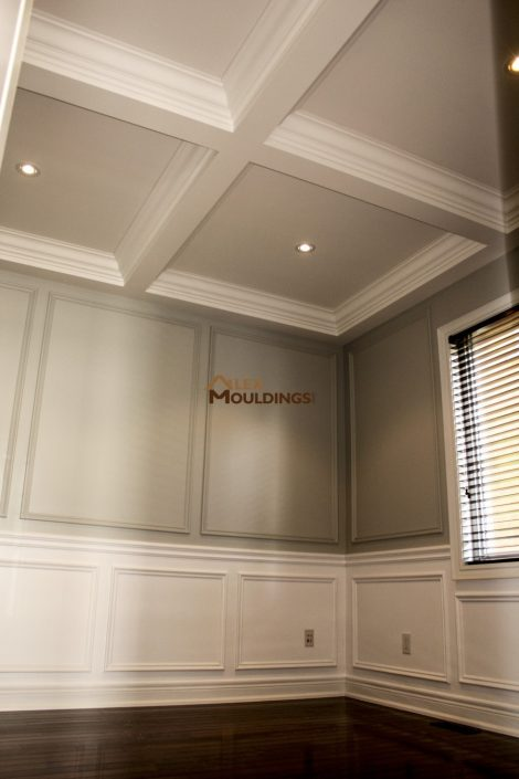 Waffle Ceiling together with wainscotings and wall trim