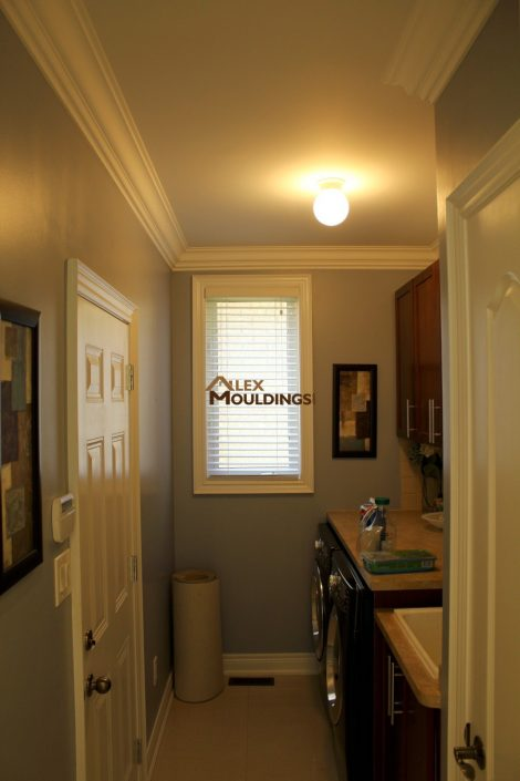 laundry room crown moulding