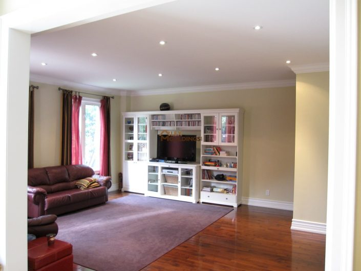 TV room decorated with mouldings