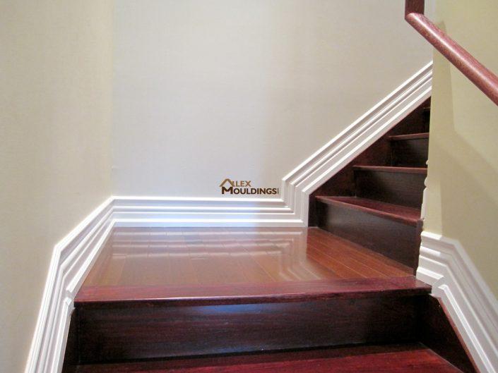 Stairway baseboard finish trim