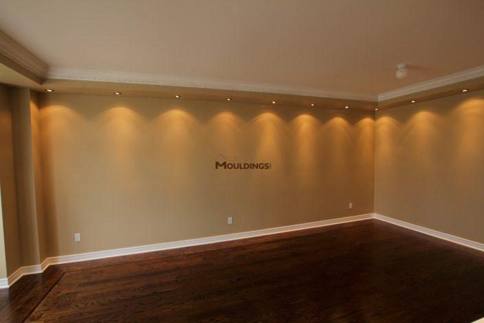 spotlights around room perimeter