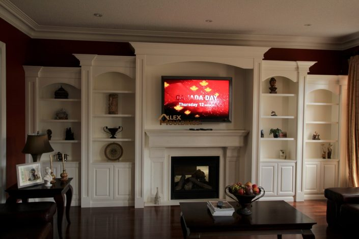 wall unit with columns and crown mouldings