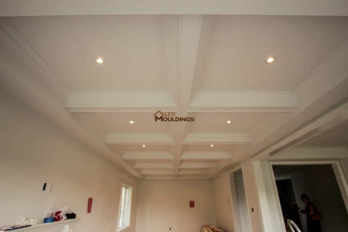 open area ceiling beams with lighting
