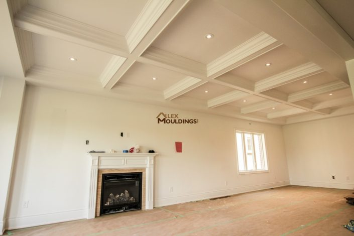 Waffle ceiling design in living room