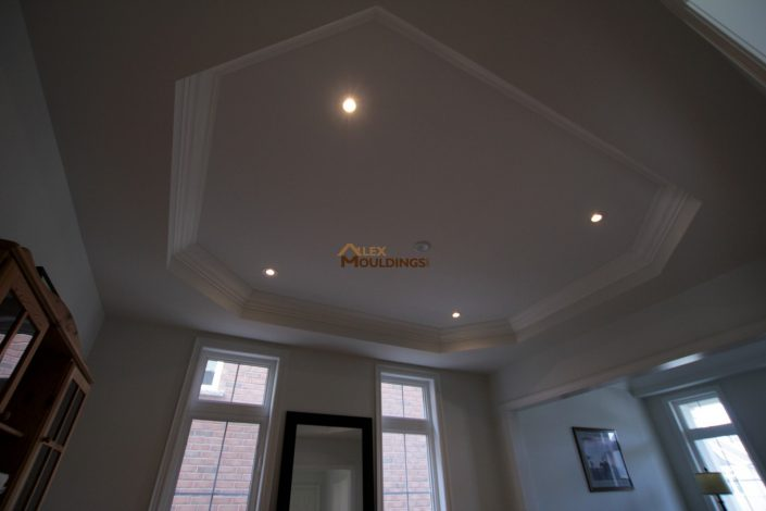 tray ceiling styled with cornice mouldings