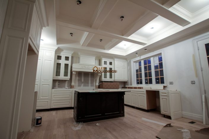 Coffered ceiling in a kitchen area