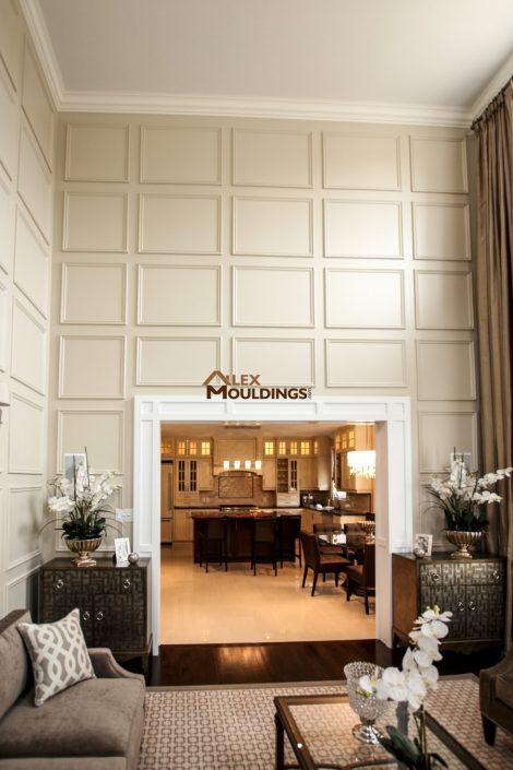 Wall trim pattern squares living room