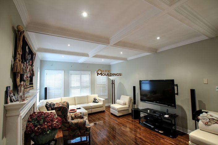 Coffered ceiling with lighting