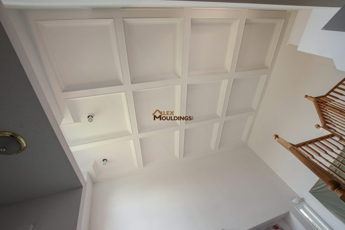 Waffle ceiling design on high ceiling