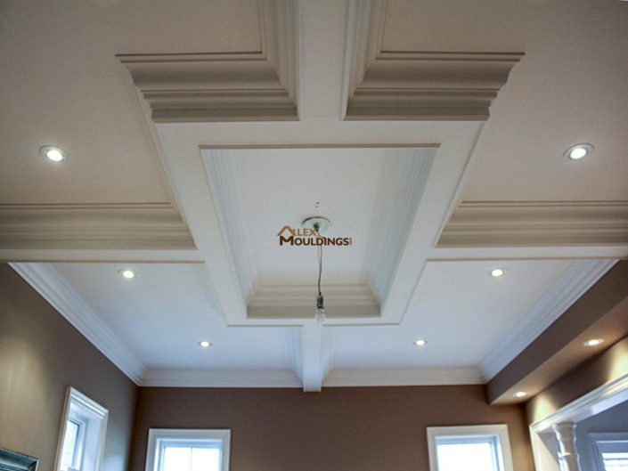 Beamed ceiling box in dining area