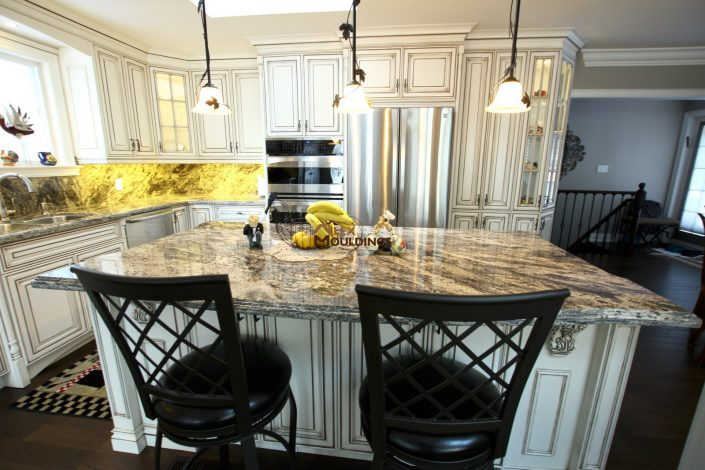 island with granite countertop
