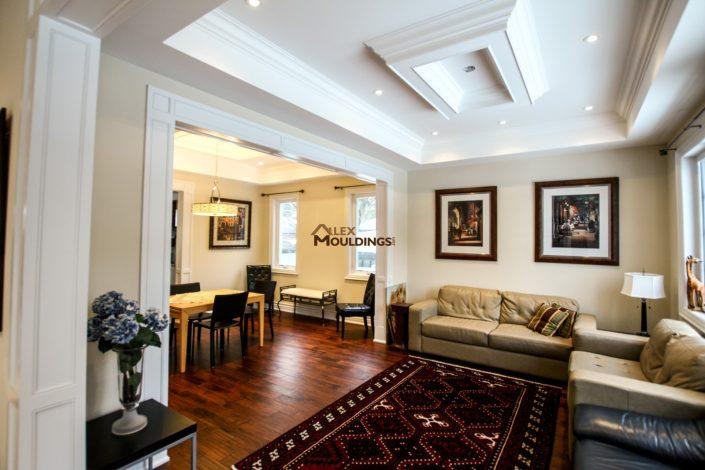 Living room flat panels around entryway