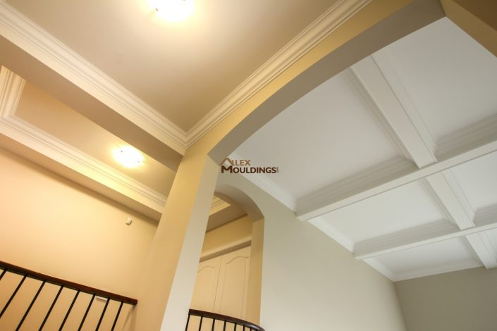 Coffered ceiling with crown moulding